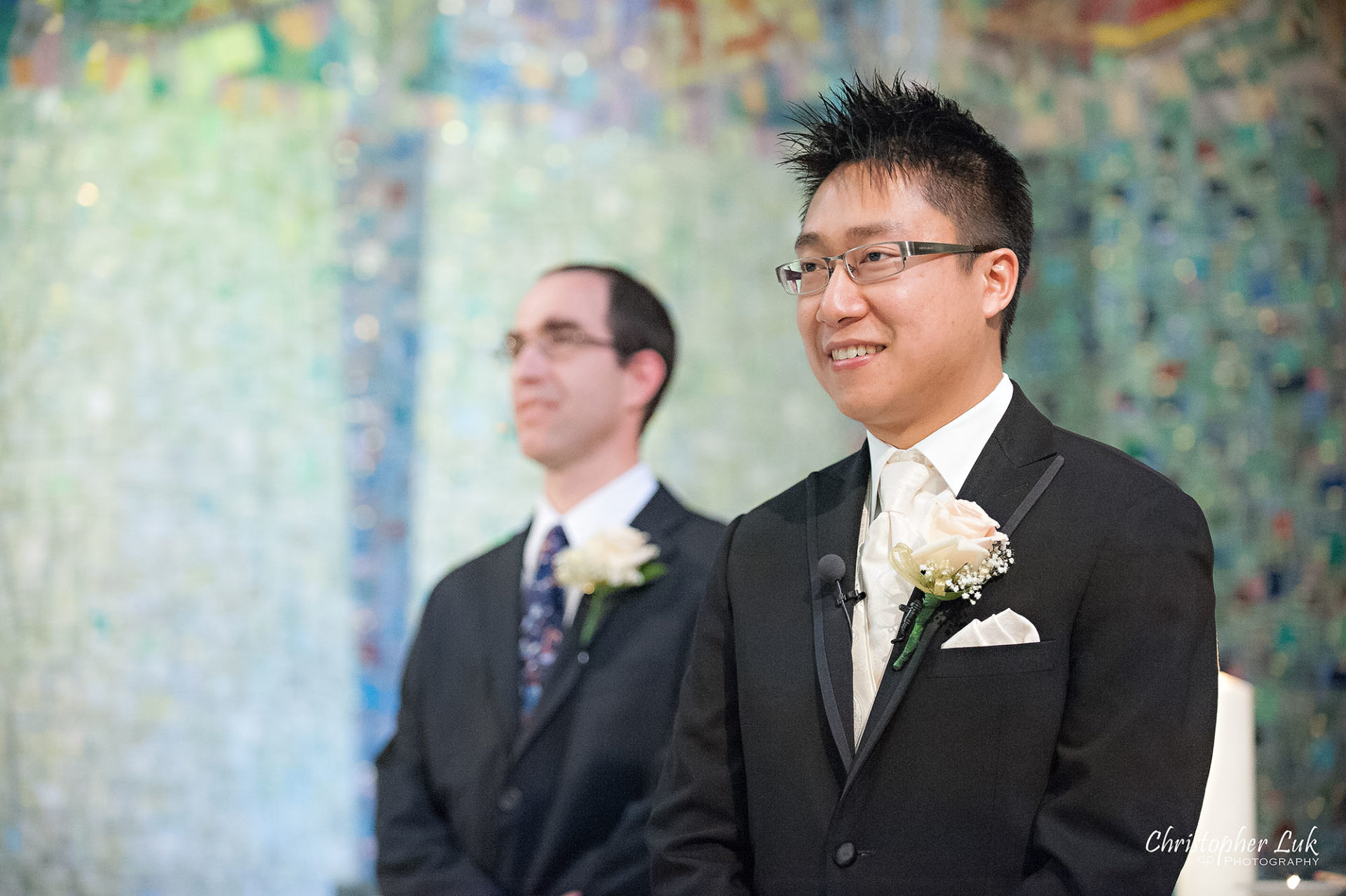 Christopher Luk Toronto Wedding Photography Tyndale Chapel Church Ceremony Venue Location Bride Groom Altar Reaction Walking Down the Aisle Processional