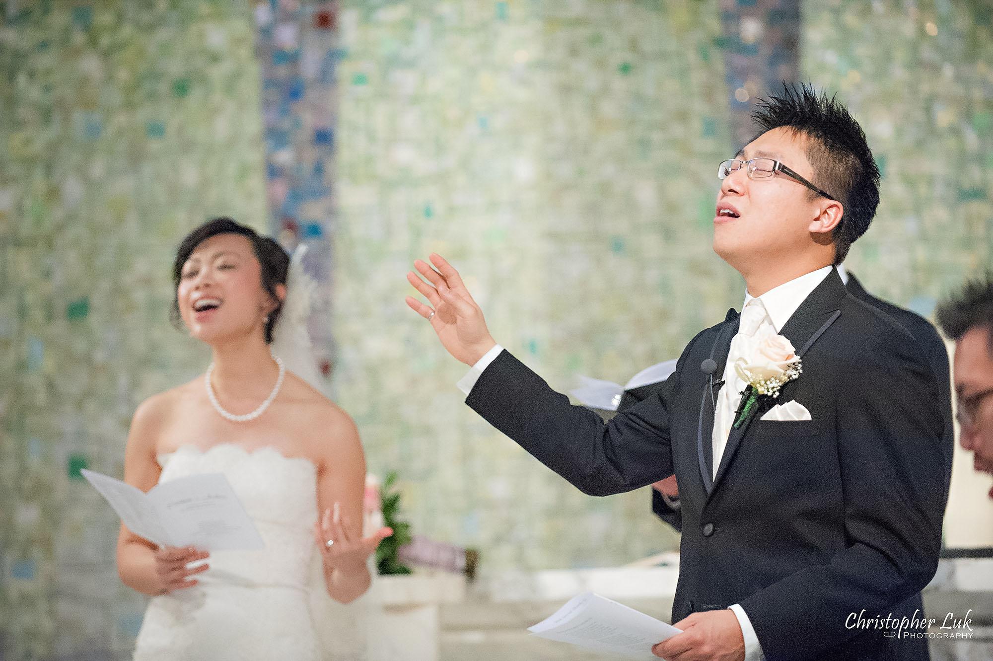Christopher Luk Toronto Wedding Photography Tyndale Chapel Church Ceremony Venue Location Bride Groom Altar Worship Singing Together