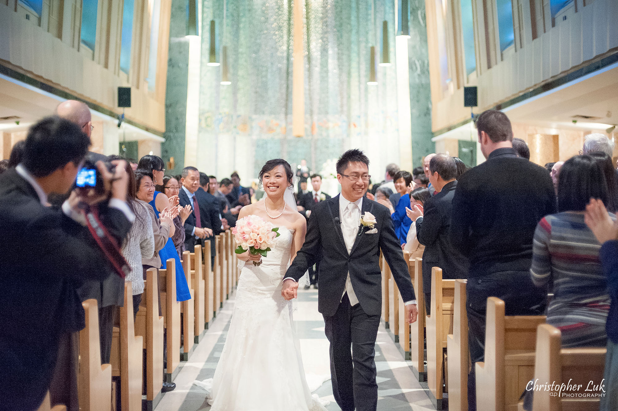 Christopher Luk Toronto Wedding Photography Tyndale Chapel Church Ceremony Venue Location Bride Groom Altar Walking Down the Aisle Together Recessional