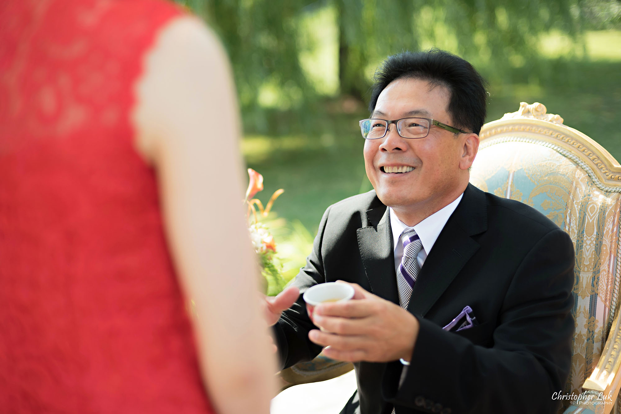 Christopher Luk Photography Toronto Wedding Photographer Chinese Tea Ceremony Bride Groom Father Candid Natural Photojournalistic Happy Smile