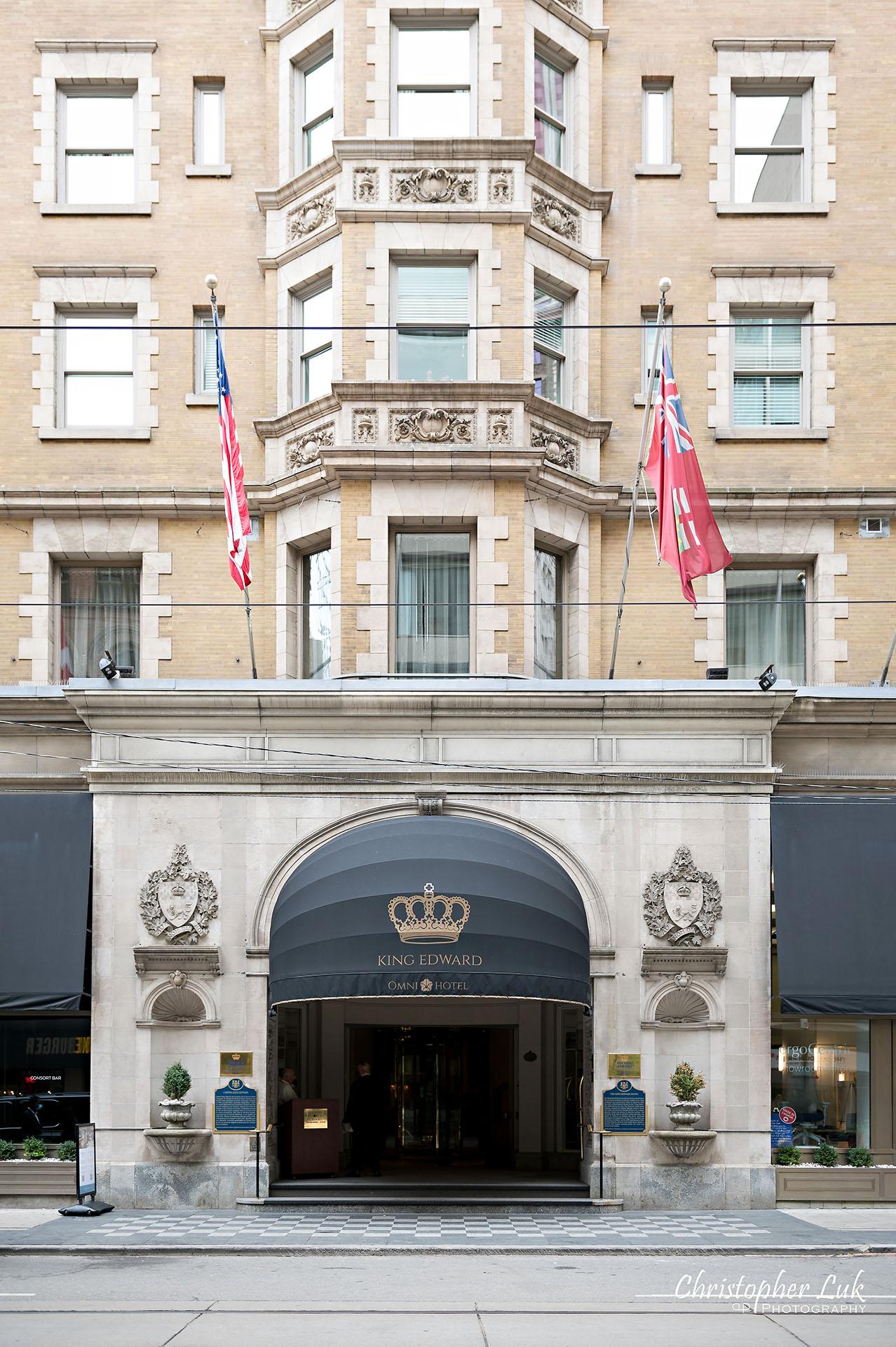 King Edward Hotel Crystal Ballroom Toronto Wedding Photographer MicroWedding Main Entrance Street Level