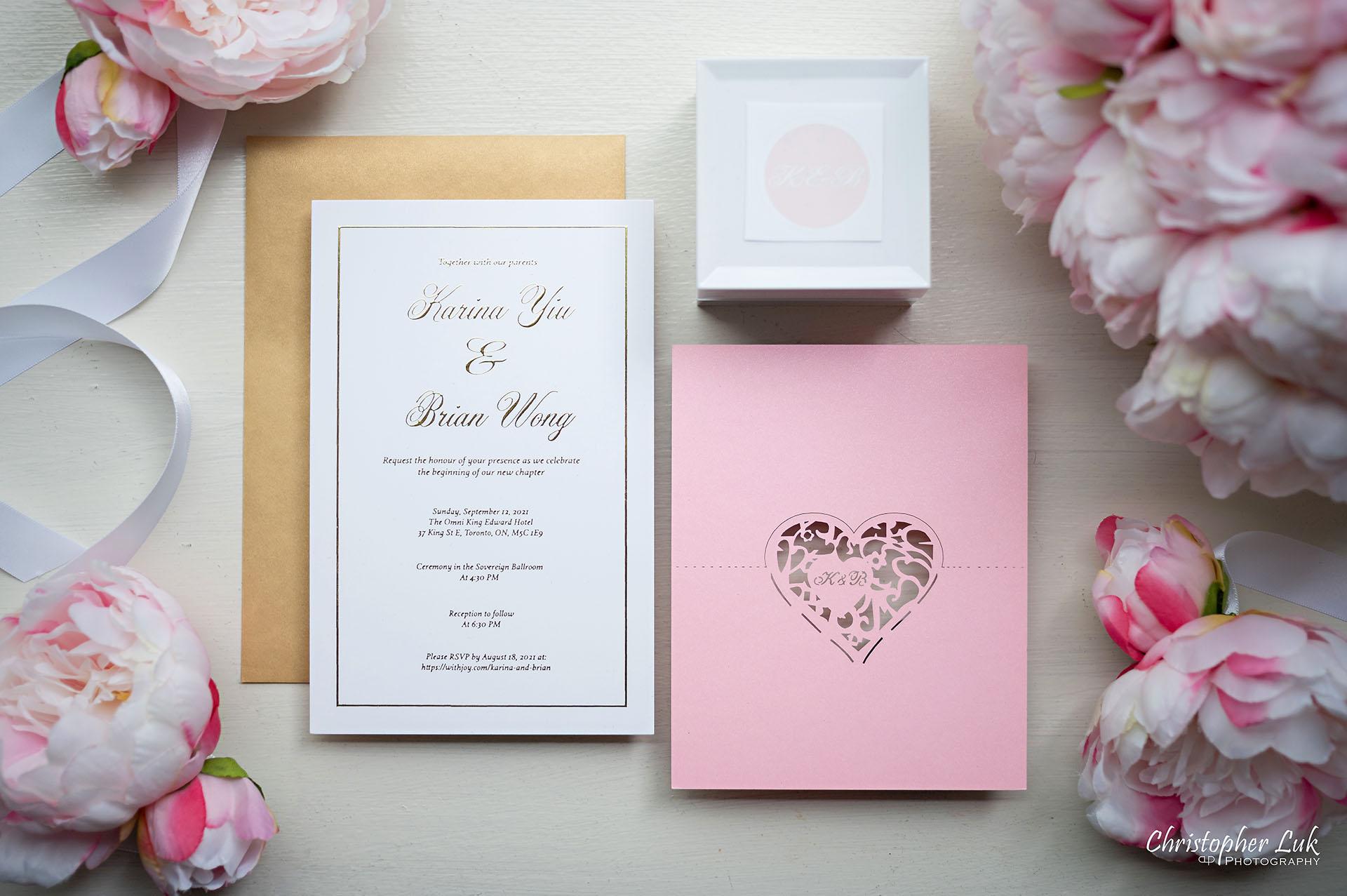 King Edward Hotel Crystal Ballroom Toronto Wedding Photographer MicroWedding Stationery Invitations Envelopes Laser Cut Heart Shape Ring Box Peonies Flowers Bouquets Flat Lay Flatlay Details