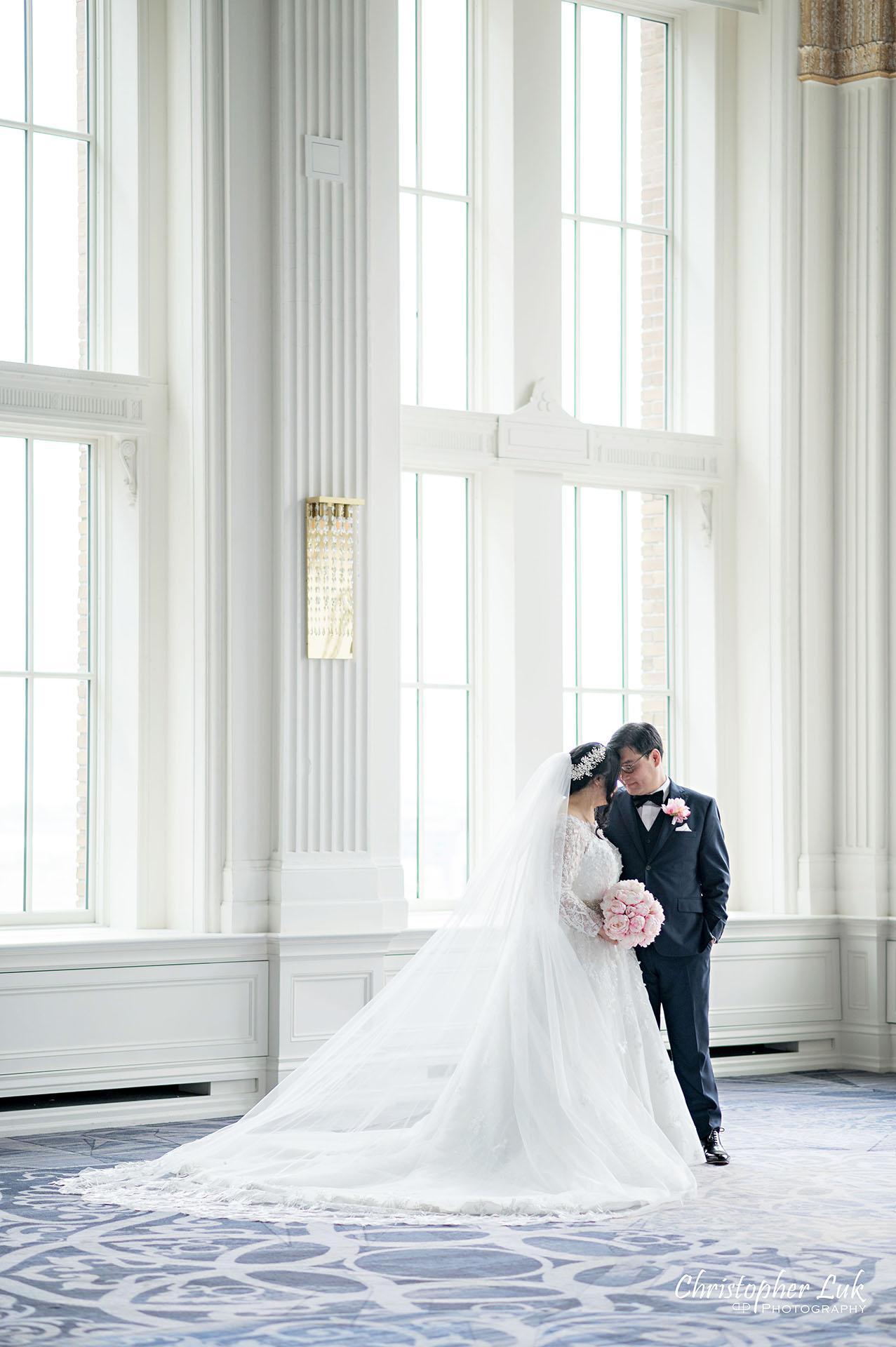 King Edward Hotel Crystal Ballroom Toronto Wedding Photographer MicroWedding Bride Groom Embrace Portrait