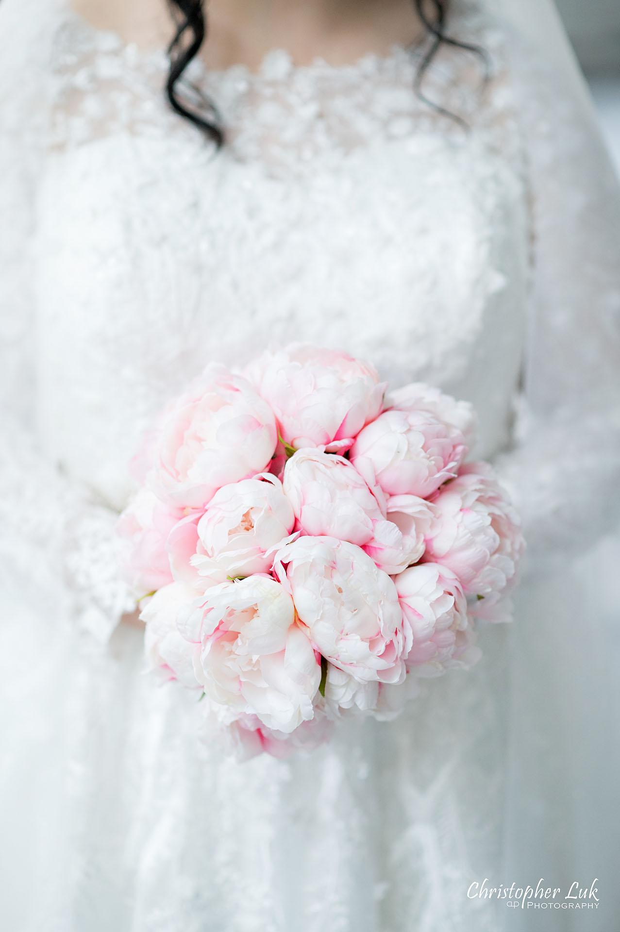 King Edward Hotel Crystal Ballroom Toronto Wedding Photographer MicroWedding Peonies Bride Flowers Bouquet Detail