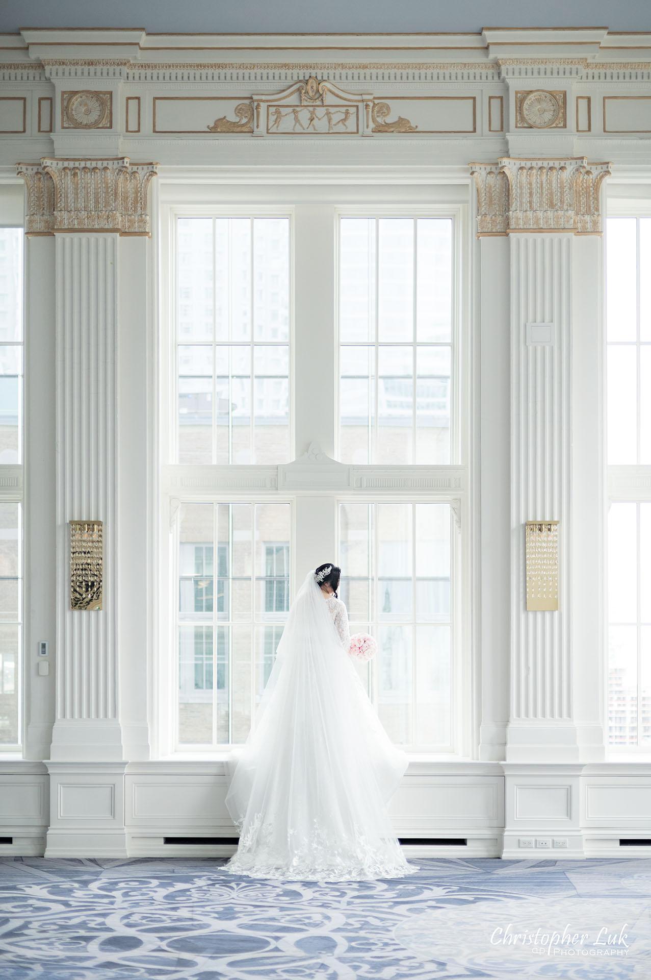 King Edward Hotel Crystal Ballroom Toronto Wedding Photographer MicroWedding Bride Window Frame Long Train Bridal Dress Gown Cathedral Veil Bouquet Portrait
