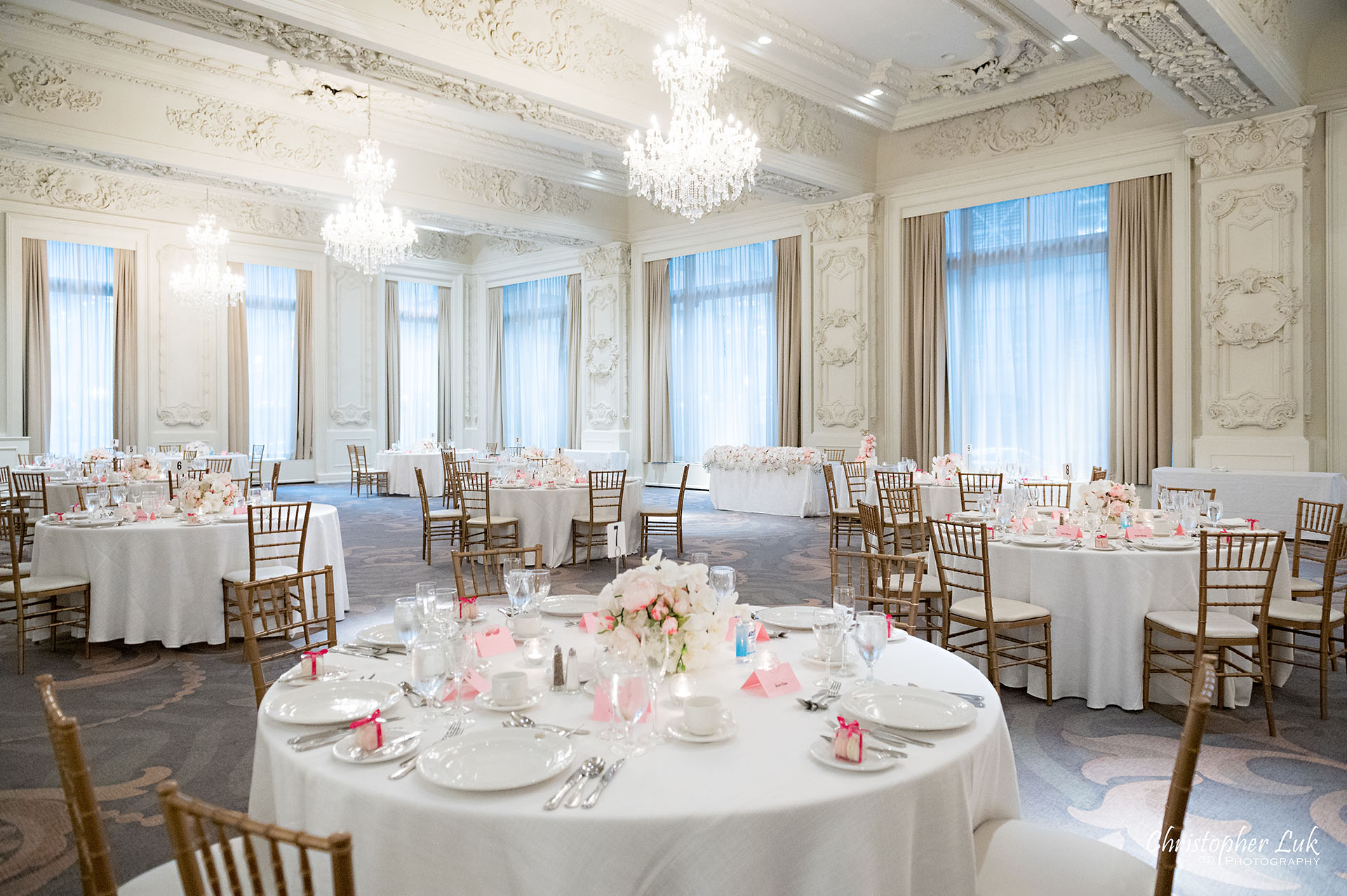 King Edward Hotel Crystal Ballroom Toronto Wedding Photographer MicroWedding Sovereign Ballroom Chandeliers Wide Angle