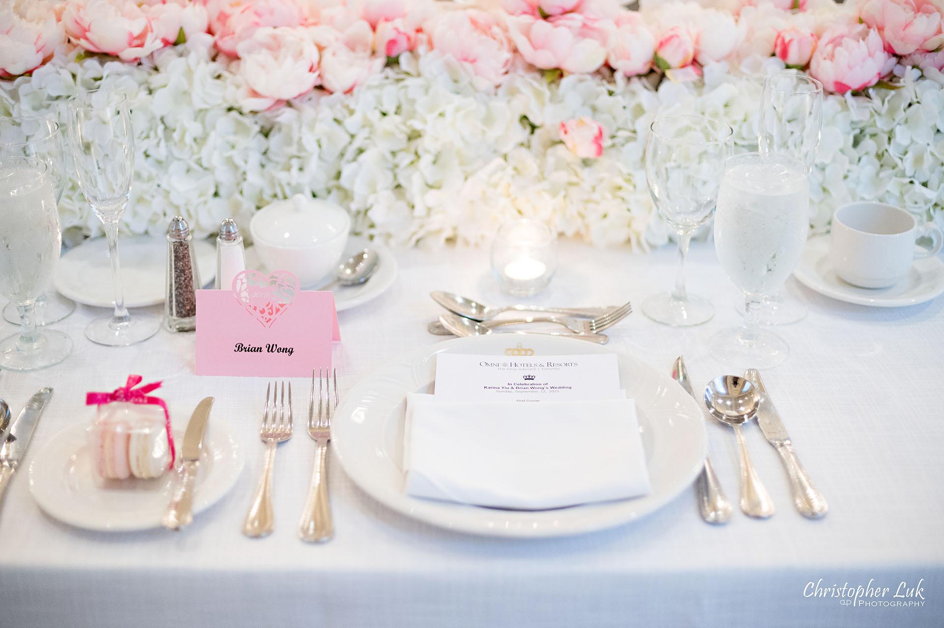 King Edward Hotel Crystal Ballroom Toronto Wedding Photographer MicroWedding Table Setting Decor Florist Flowers Menu