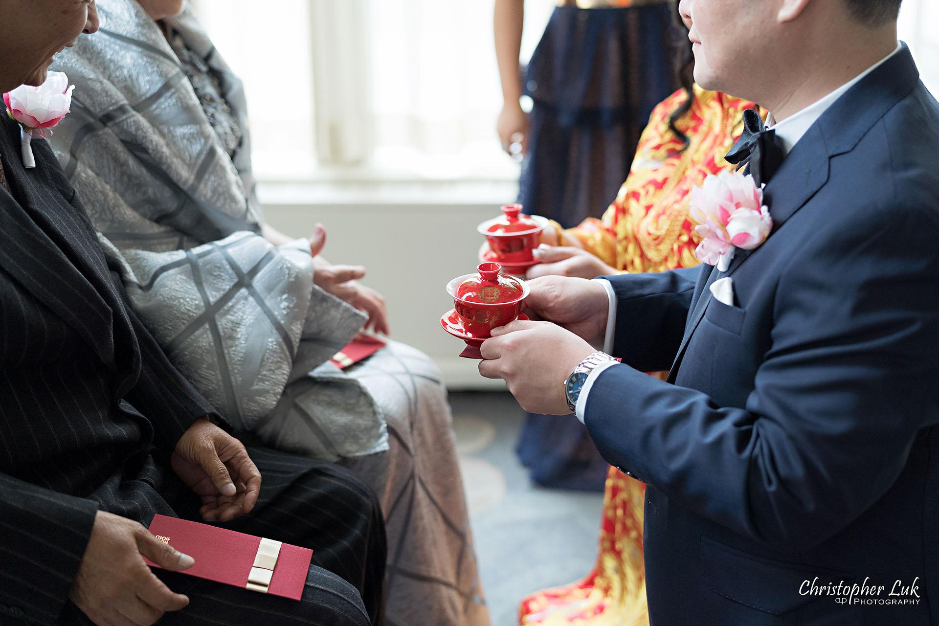 King Edward Hotel Crystal Ballroom Toronto Wedding Photographer MicroWedding Sovereign Ballroom Chinese Tea Ceremony Red Qipao Qun Kwa Cheongsam Traditional Dress Details
